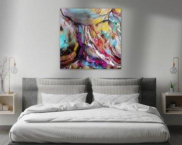 Abstrakte Kunst - Bunte Explosion Quadrat von Patricia Piotrak