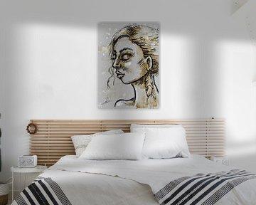 Rust in haar hoofd - portret van vrouw met gesloten ogen. van Emiel de Lange