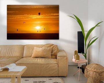 Zonsondergang Brouwersdam Zeeland van Ton Tolboom
