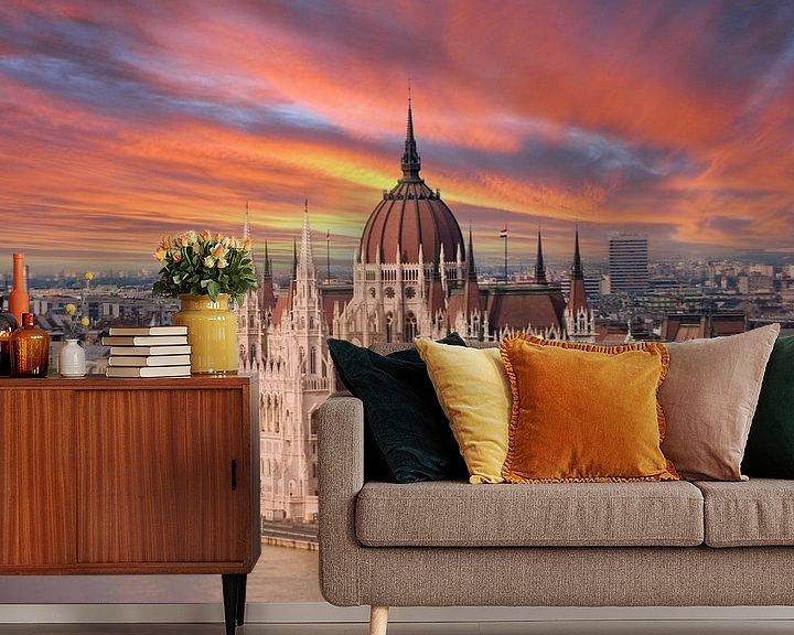 Sfeerimpressie behang: Budapest Hongarije. van Brian Morgan