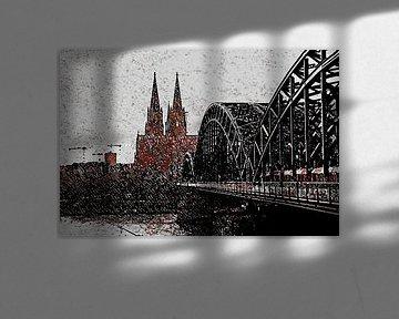 Köln Panorama Artstyle Malerei black rouge white von Michael Bartsch