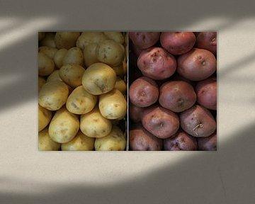 Twee soorten aardappelen, naast elkaar opgestapeld. sur Gert van Santen