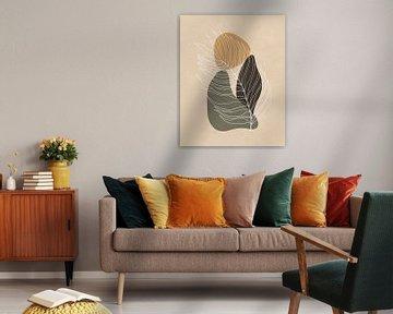 Minimalistische Landschaft mit einem Palmenblatt und drei Formen von Tanja Udelhofen