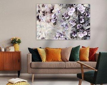 Blumen schwarz weiß lila von Patricia Piotrak