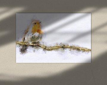 Rotkehlchen auf einem Ast (Kunst, Panorama)