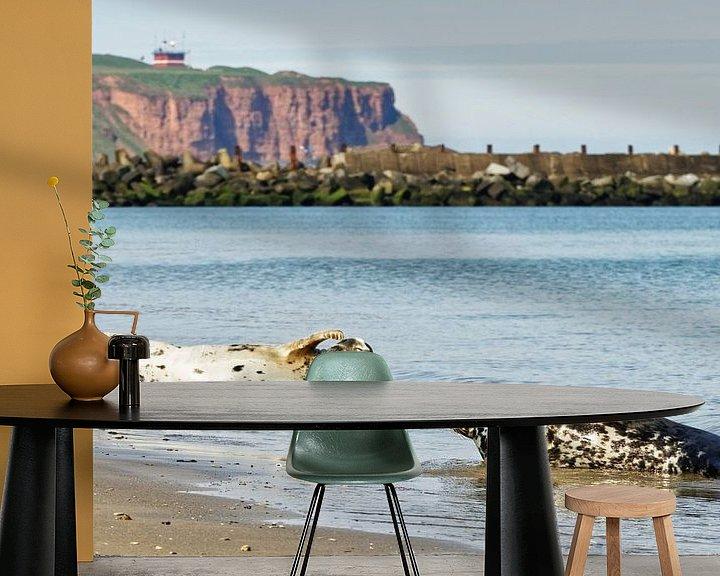 Beispiel fototapete: Kegelrobben am Strand der Nordseeinsel Helgoland von Ralf Lehmann