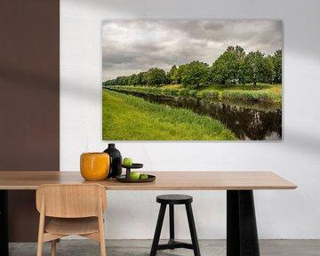 Canal néerlandaise par un jour sans vent et nuageux sur Ruud Morijn