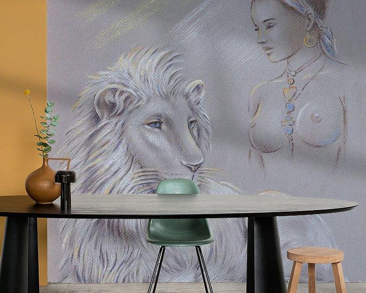 Beispiel fototapete: Heiliger weißer Löwe - Schamanismus von Marita Zacharias
