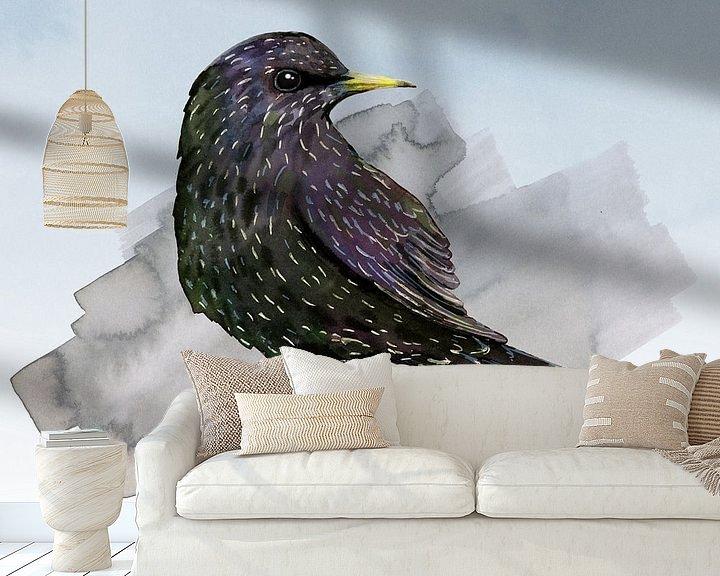 Sfeerimpressie behang: Een aquarel tekening van een spreeuw van Bianca Wisseloo