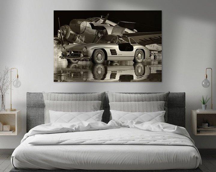 Sfeerimpressie: Mercedes 300SL Gullwings 1964 Zwart en Wit van Jan Keteleer