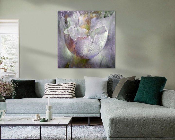 Impression: La coquille d'œuf - structures en rose, gris et jaune sur Annette Schmucker