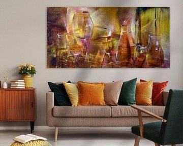 Feest: flessen en glazen in rood en goud van Annette Schmucker
