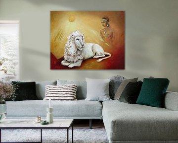 Witte leeuw met leeuwen sjamaan van Marita Zacharias