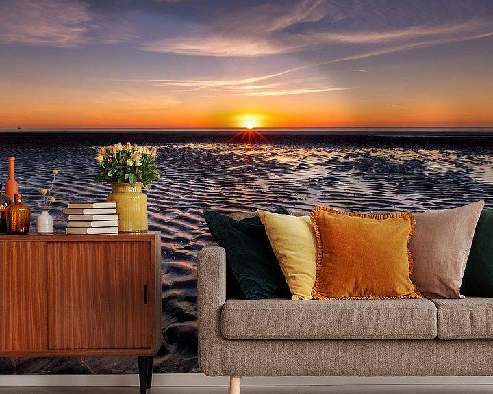 Sfeerimpressie behang: Zonsondergang op Schiermonnikoog van Jacques Jullens