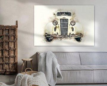 Dodge DU 1935 Sedan Digitale Malerei in Aquarell von Andreea Eva Herczegh