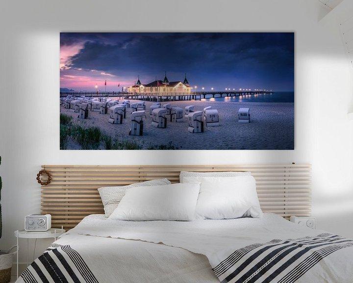 Sfeerimpressie: Strand en pier van Ahlbeck in de avond. van Voss Fine Art Fotografie