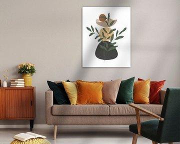 Minimalistisch landschap met een bladplant in herfstkleuren van Tanja Udelhofen