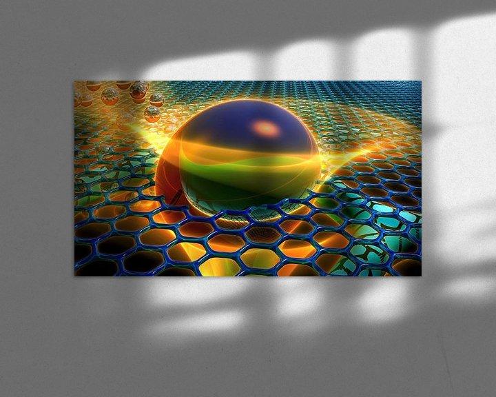 Sfeerimpressie: Abstracte kunst met bal in rooster van W J Kok
