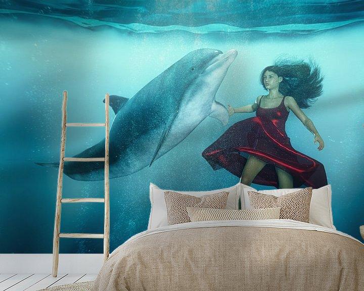 Sfeerimpressie behang: Dolfijn Tango van Arjen Roos