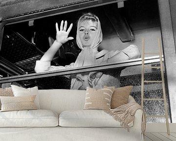 Brigitte Bardot in trein bij vertrek naar Spanje voor film van Bridgeman Images