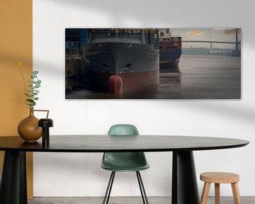 Containerschiffe bei Sonnenaufgang am Terminal im Hamburger Hafen von Jonas Weinitschke