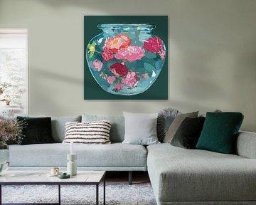 Blumenvase rosa Rosen von Pastel Rainbow Studio