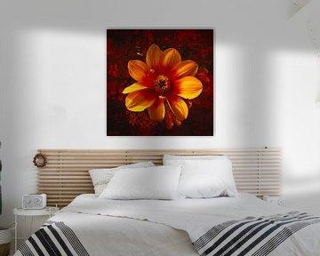 Eine orange-rote Dahlie mit einer Amadine. von Helga Blanke
