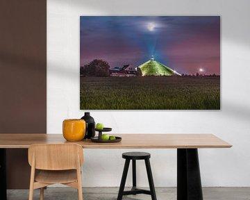 Supermond über dem Löwen von Waterloo von Daan Duvillier