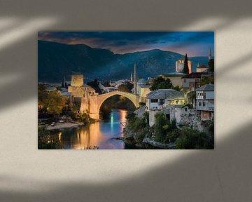 Zonsondergang in Mostar, Bosnië en Herzegovina van Michael Abid