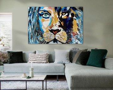 Gesicht zu Gesicht Löwin Frau von Kathleen Artist Fine Art