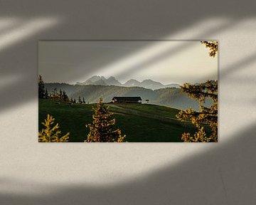 Matin sur les montagnes avec une belle vue sur un alpage avec une cabane. sur chamois huntress