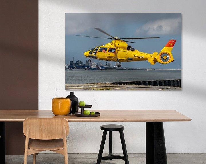 Sfeerimpressie: Airbus Helicopters - AS365N3 Dauphin 2, een SAR (Search and Rescue) helicopter van Noordzee Helikopt van Jaap van den Berg