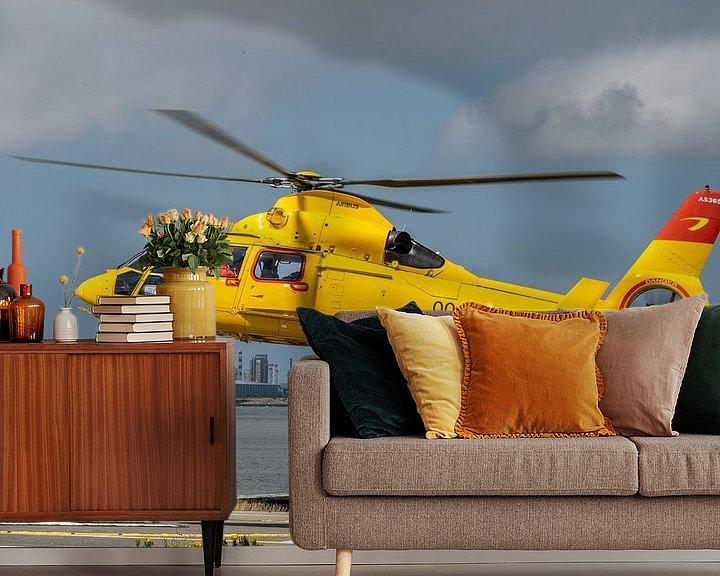 Sfeerimpressie behang: Airbus Helicopters - AS365N3 Dauphin 2, een SAR (Search and Rescue) helicopter van Noordzee Helikopt van Jaap van den Berg