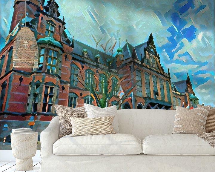 Sfeerimpressie behang: Modern schilderij Academiegebouw Groningen van Slimme Kunst.nl
