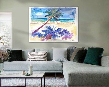 Palmenschatten unter karibischer Sonne mit Strand und Meer