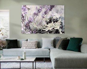 Lavendel Klee und Tanne Aquarell