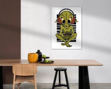 Computerspiel Alien   Geschenk und Jugendzimmer Wanddeko für Zocker von Millennial Prints