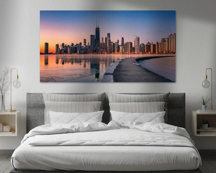 Sfeerimpressie: Chicago Illinois Skyline van Photo Wall Decoration