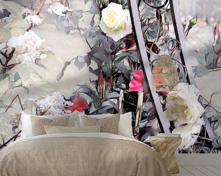 Beispiel fototapete: Rosenranke Aquarellmalerei rot-weiß von Patricia Piotrak