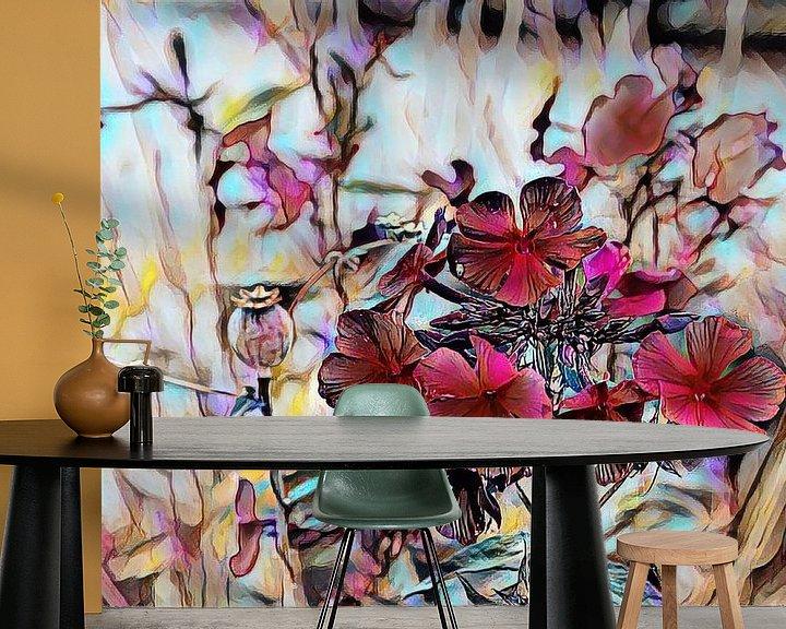 Beispiel fototapete: Rote Blumen Ölmalerei von Patricia Piotrak