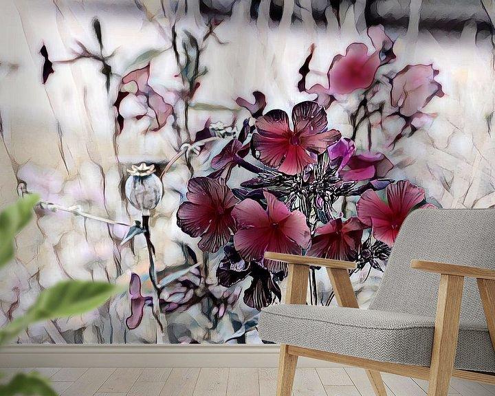 Beispiel fototapete: Rote Blumen Aquarellmalerei von Patricia Piotrak