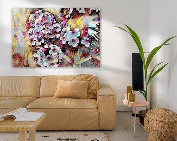 Weiß-rosa Blumen Ölmalerei