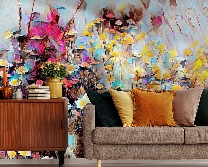 Beispiel fototapete: Wildblumen Ölmalerei von Patricia Piotrak