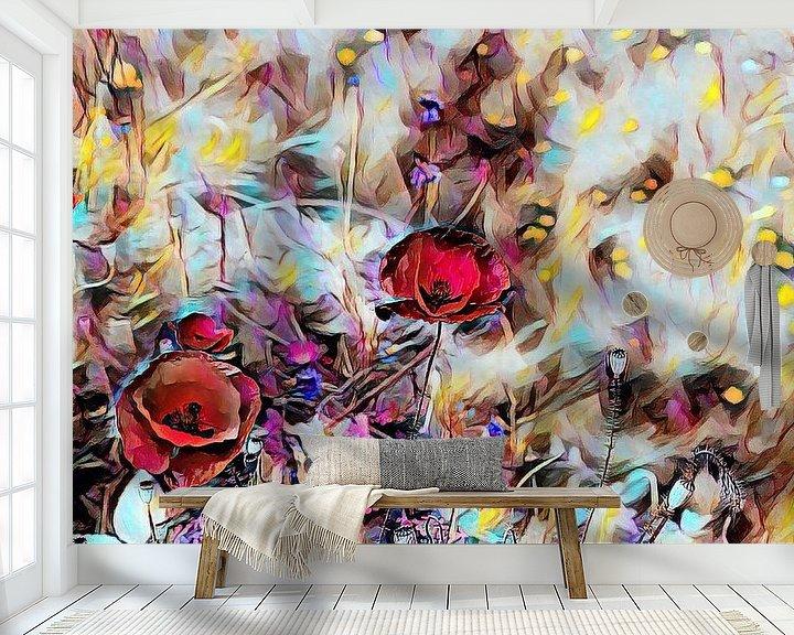 Beispiel fototapete: Roter Mohn Ölmalerei von Patricia Piotrak