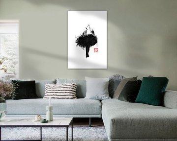 nest van storke van Péchane Sumie