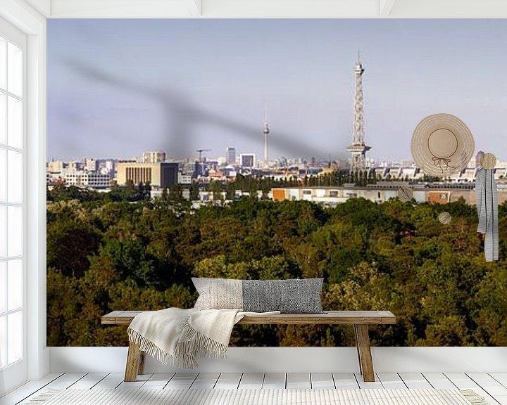 Sfeerimpressie behang: Panorama skyline Berlijn van Frank Herrmann