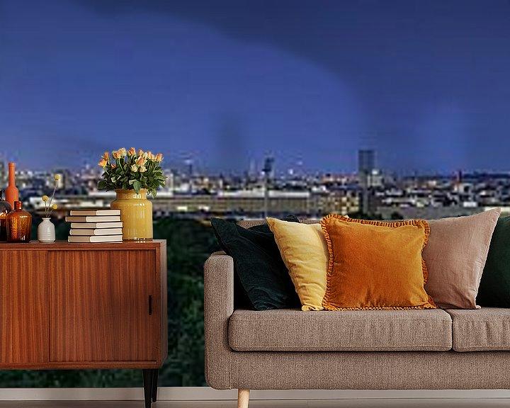 Beispiel fototapete: Berlin Skyline Panorama zur blauen Stunde von Frank Herrmann