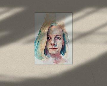 Portret van een jonge vrouw van Ron van Vliet