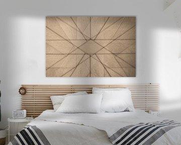Abstrakte Skulptur aus geometrischen Formen in Holz von Lisette Rijkers