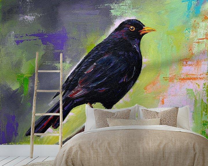 Beispiel fototapete: Malen Schwarzer Vogel von Bianca ter Riet